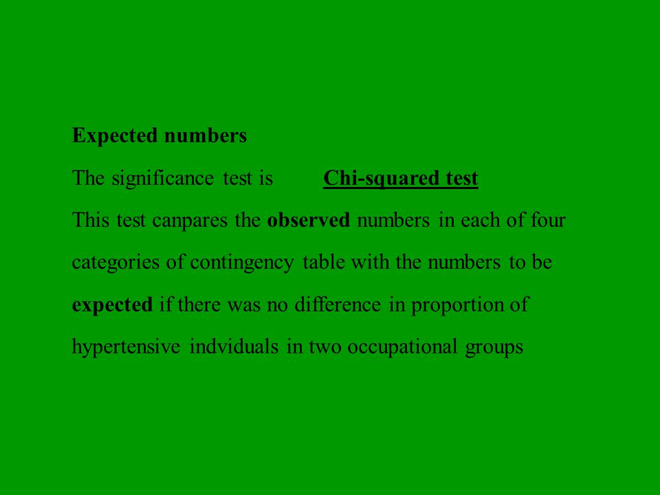 Expected numbers The significance test is Chi-squared test.