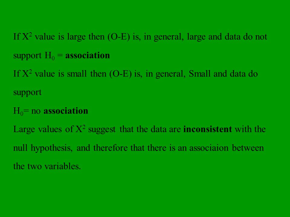 If X2 value is large then (O-E) is, in general, large and data do not support H0 = association
