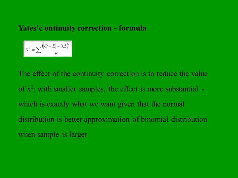 Yates'c ontinuity correction - formula