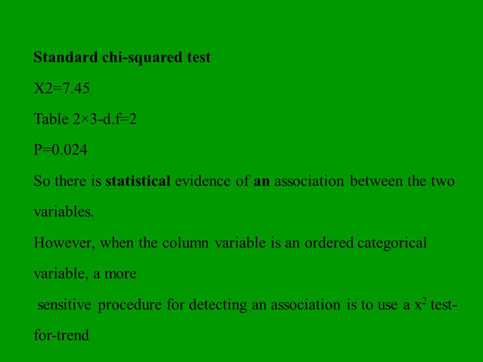 Standard chi-squared test