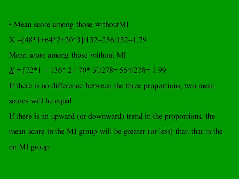 • Mean score among those withoutMI