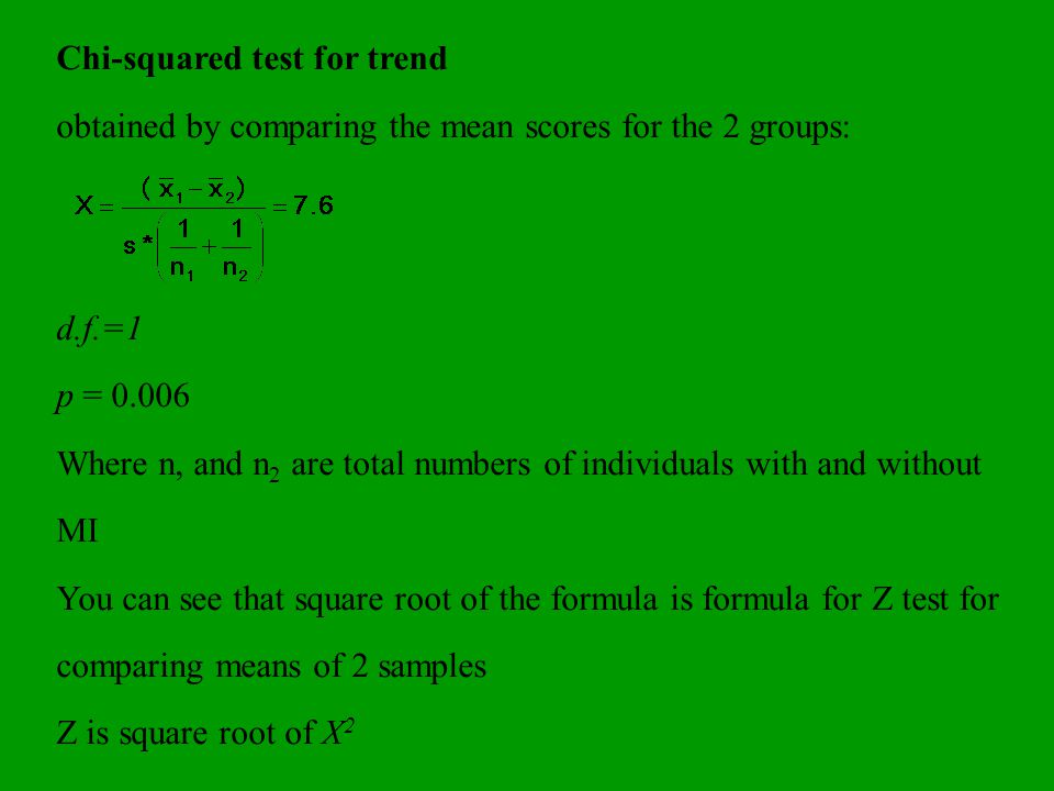 Chi-squared test for trend