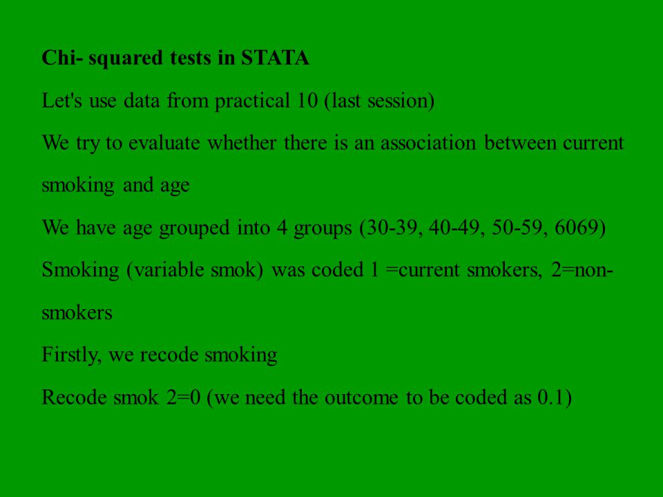 Chi- squared tests in STATA