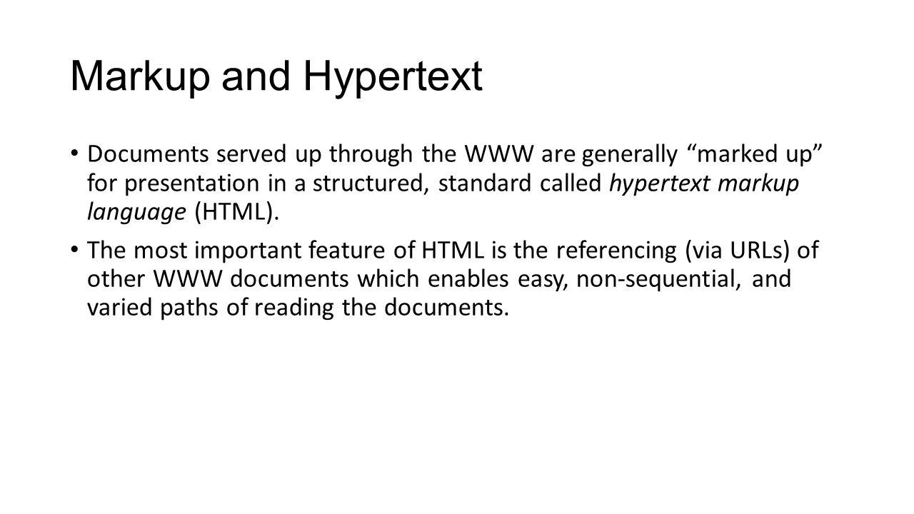Markup and Hypertext