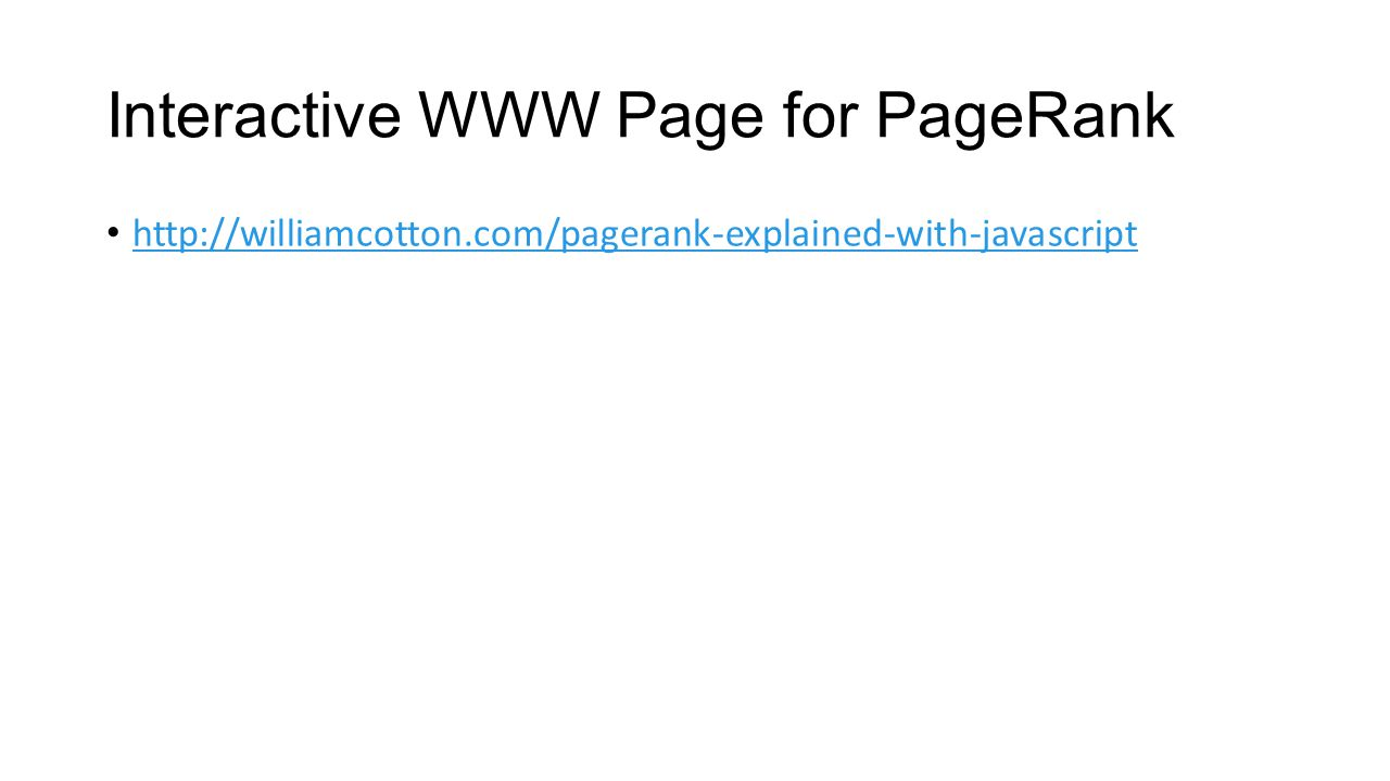 Interactive WWW Page for PageRank