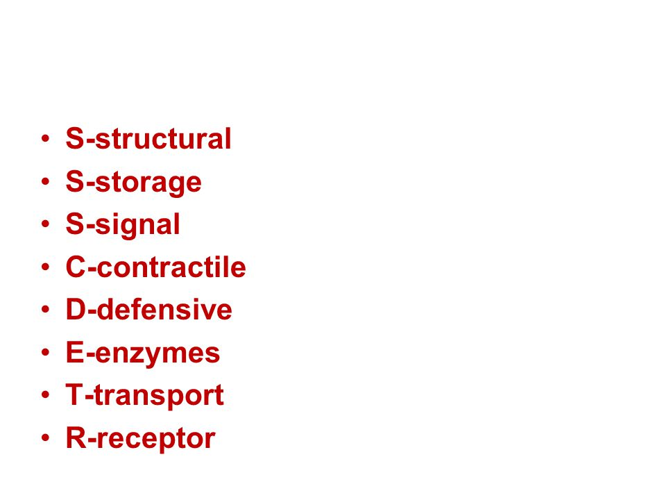 S-structural S-storage S-signal C-contractile D-defensive E-enzymes T-transport R-receptor