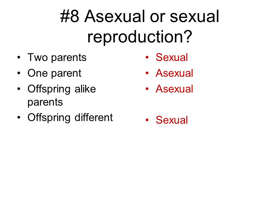 #8 Asexual or sexual reproduction