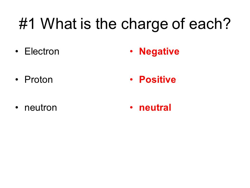 #1 What is the charge of each