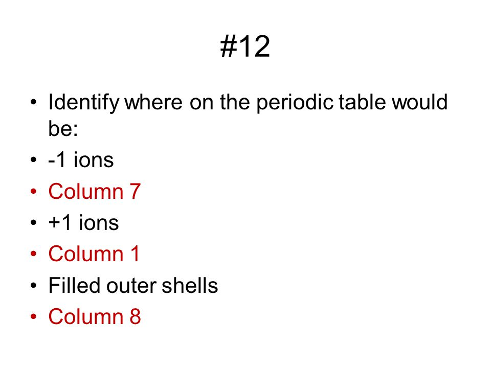 #12 Identify where on the periodic table would be: -1 ions Column 7