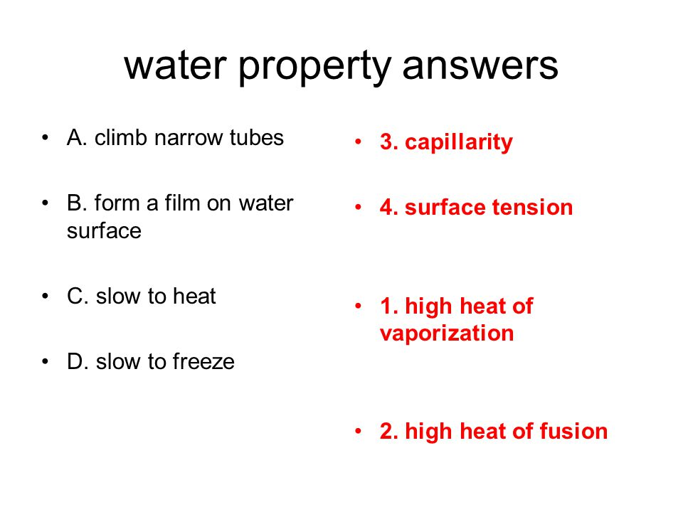 water property answers