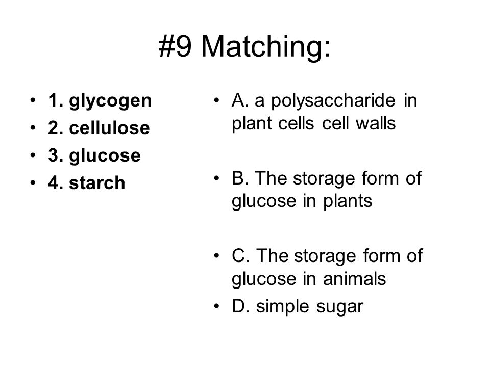 #9 Matching: 1. glycogen 2. cellulose 3. glucose 4. starch