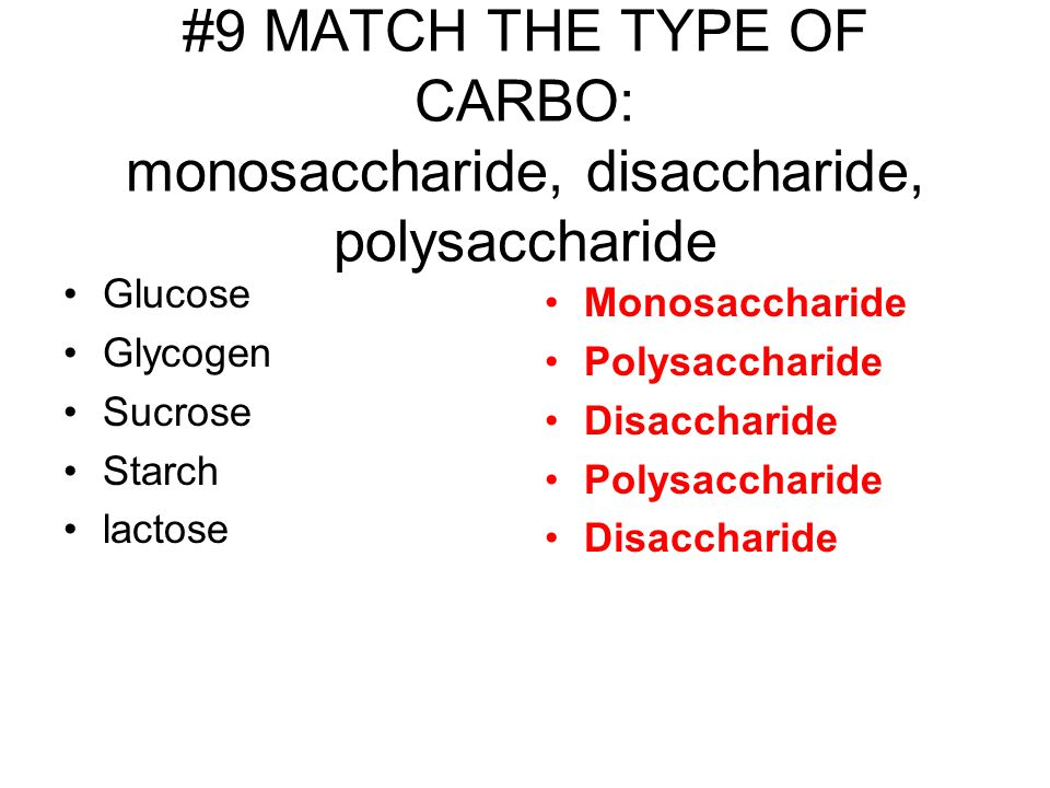 #9 MATCH THE TYPE OF CARBO: monosaccharide, disaccharide, polysaccharide