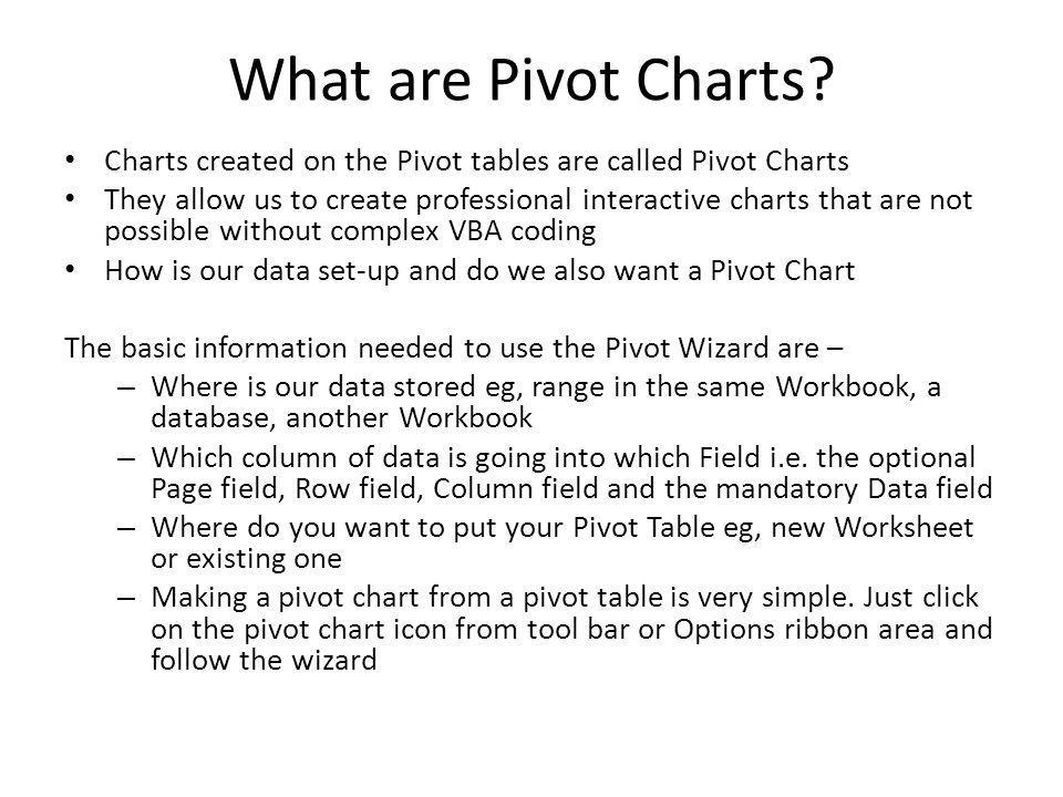 What are Pivot Charts Charts created on the Pivot tables are called Pivot Charts.