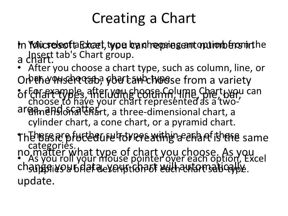 Creating a Chart You select a chart type by choosing an option from the Insert tab s Chart group.