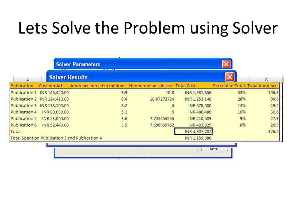 Lets Solve the Problem using Solver