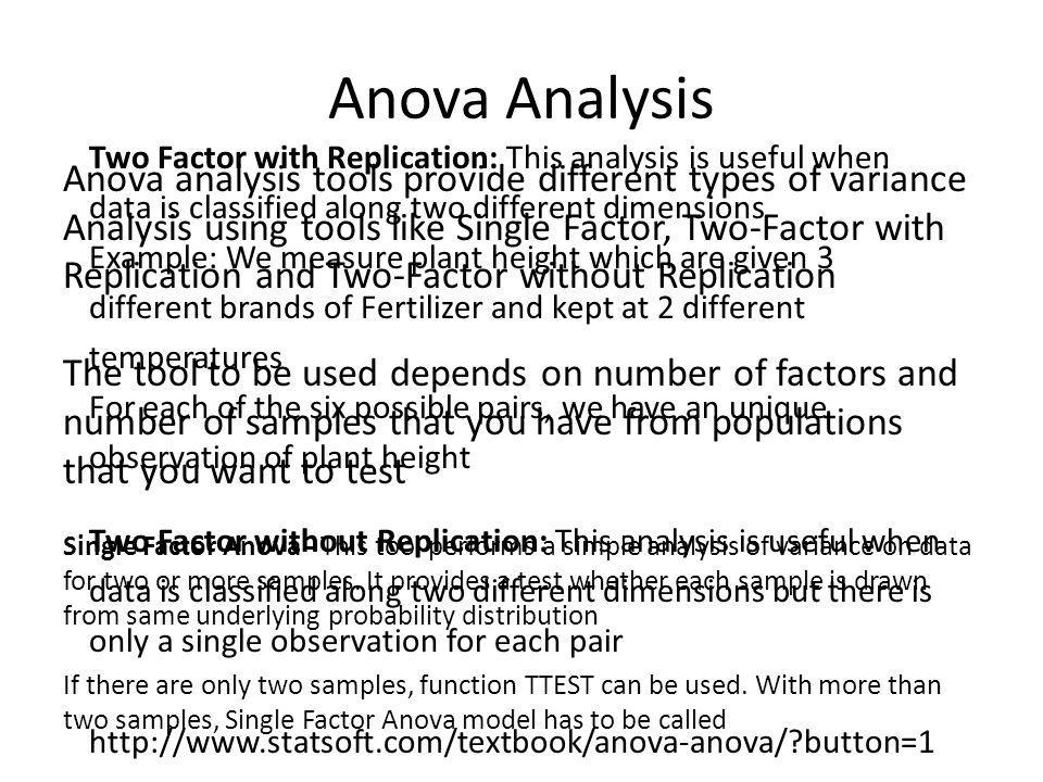 Anova Analysis Two Factor with Replication: This analysis is useful when. data is classified along two different dimensions.