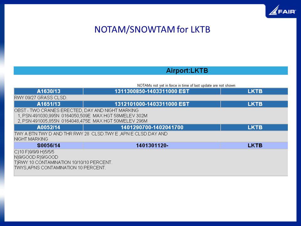 NOTAM/SNOWTAM for LKTB