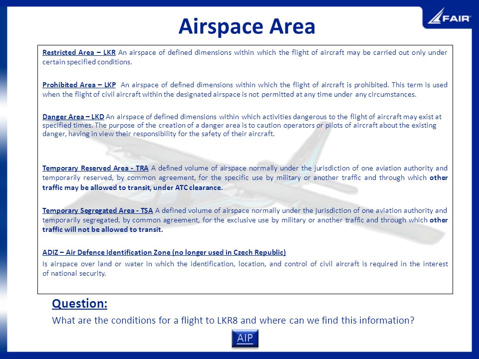 Airspace Area Question: AIP