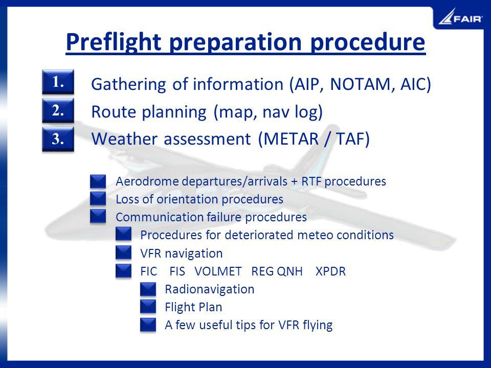 Preflight preparation procedure
