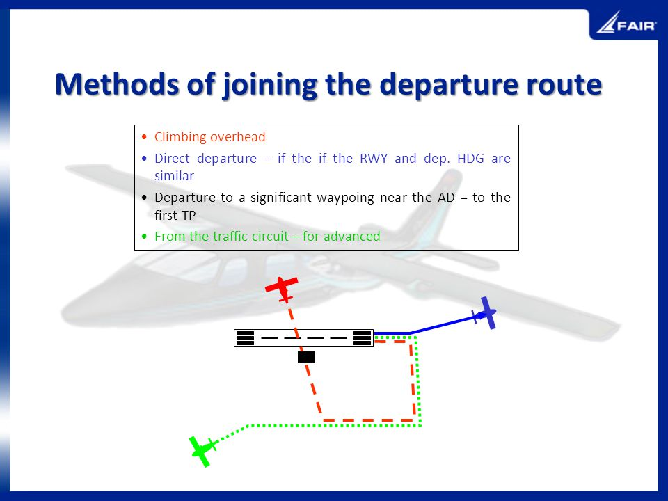 Methods of joining the departure route