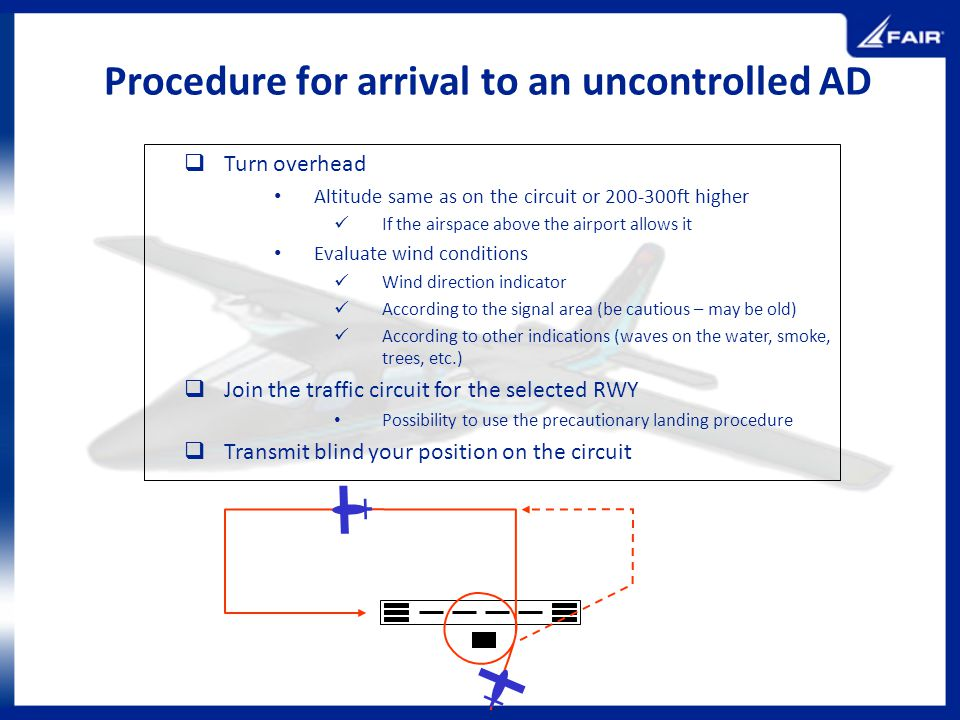 Procedure for arrival to an uncontrolled AD