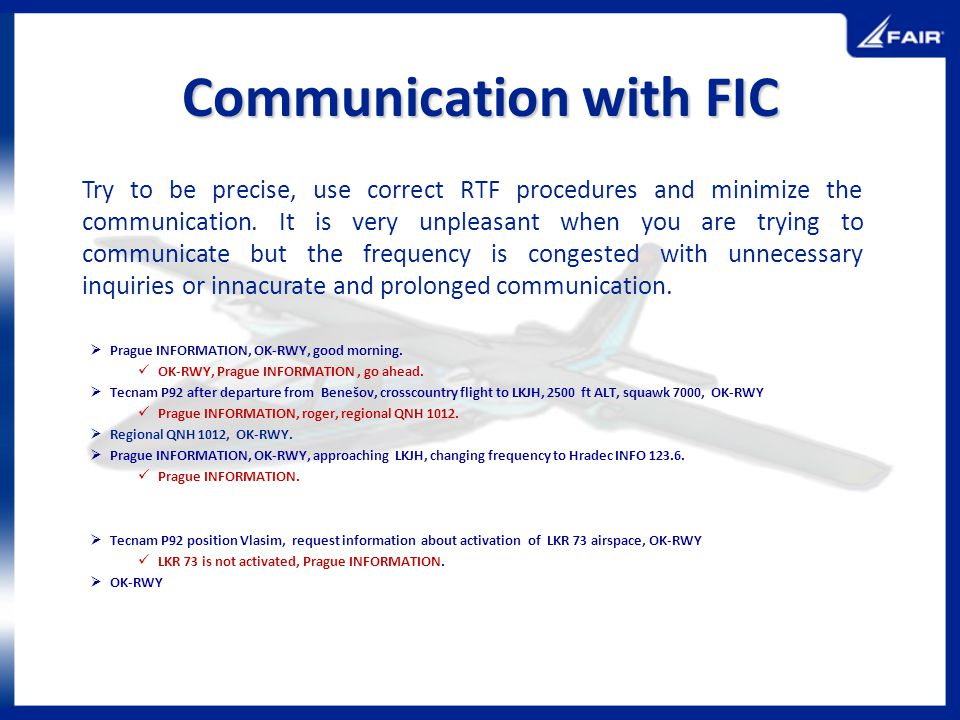 Communication with FIC