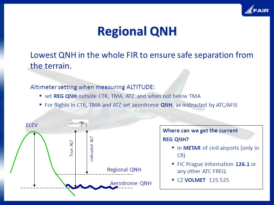 Regional QNH Lowest QNH in the whole FIR to ensure safe separation from the terrain. Altimeter setting when measuring ALTITUDE: