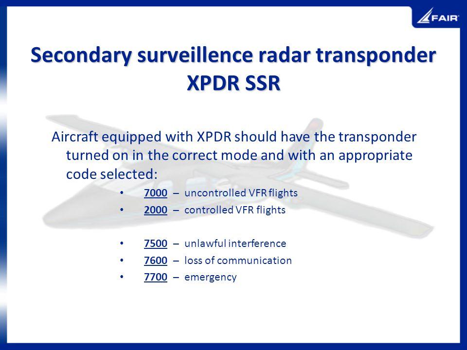 Secondary surveillence radar transponder XPDR SSR