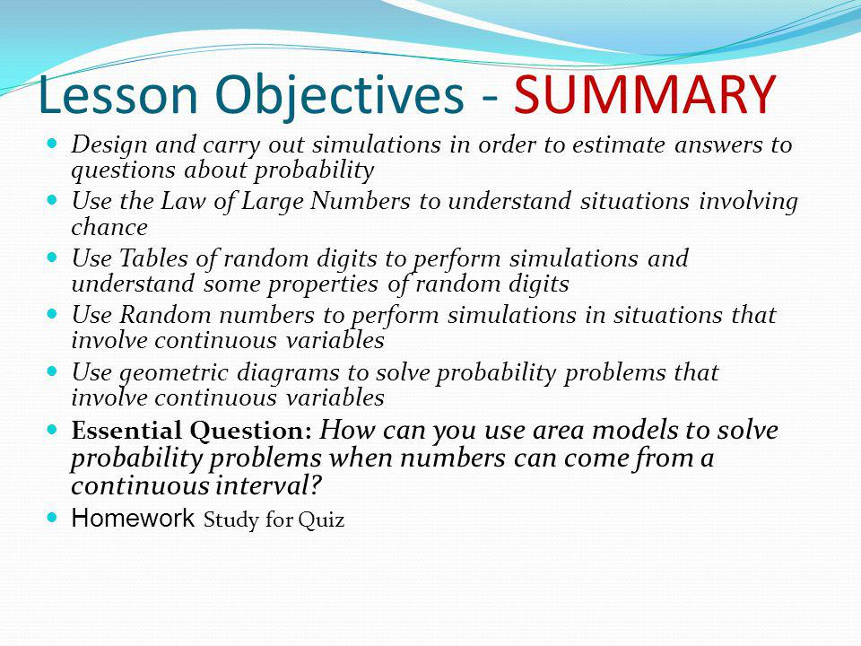 Lesson Objectives - SUMMARY