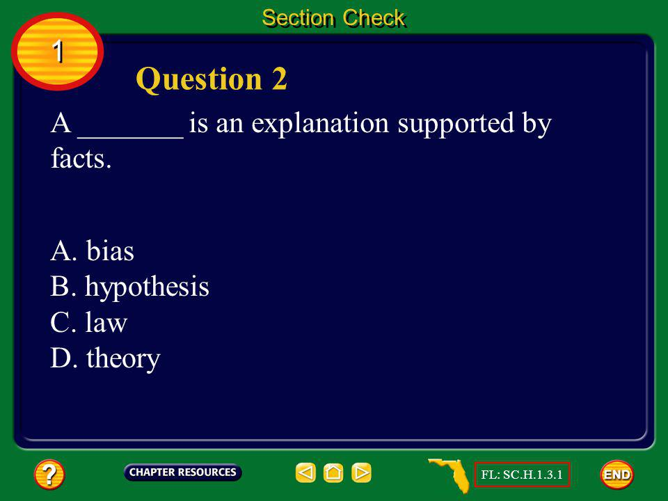 Question 2 1 A _______ is an explanation supported by facts. A. bias