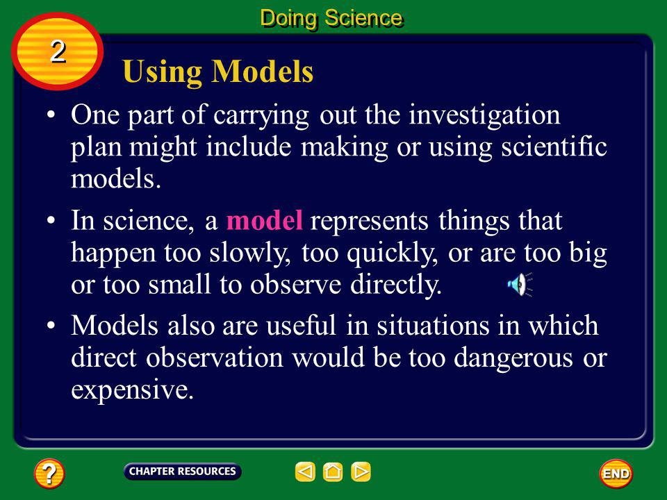 Doing Science 2. Using Models. One part of carrying out the investigation plan might include making or using scientific models.