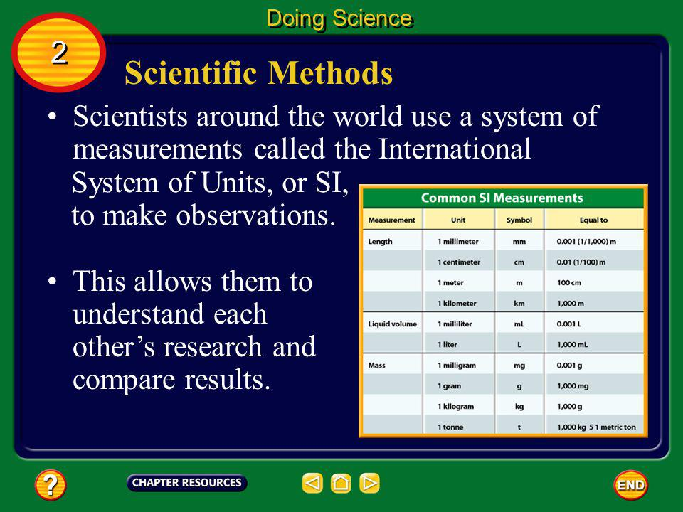Doing Science 2. Scientific Methods. Scientists around the world use a system of measurements called the International.
