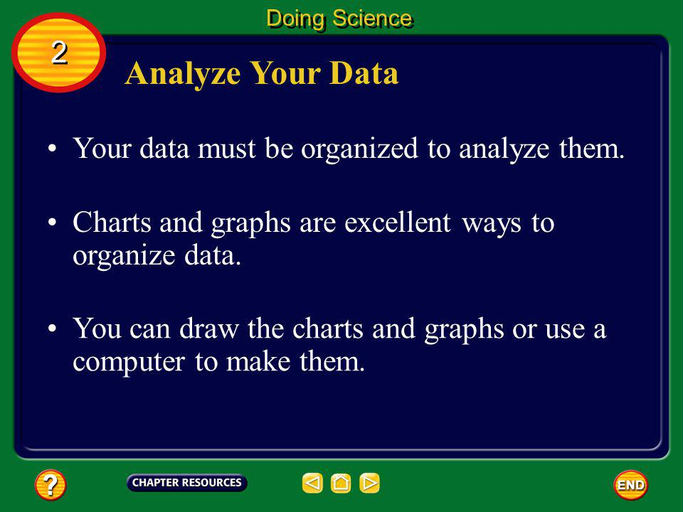 Analyze Your Data 2 Your data must be organized to analyze them.