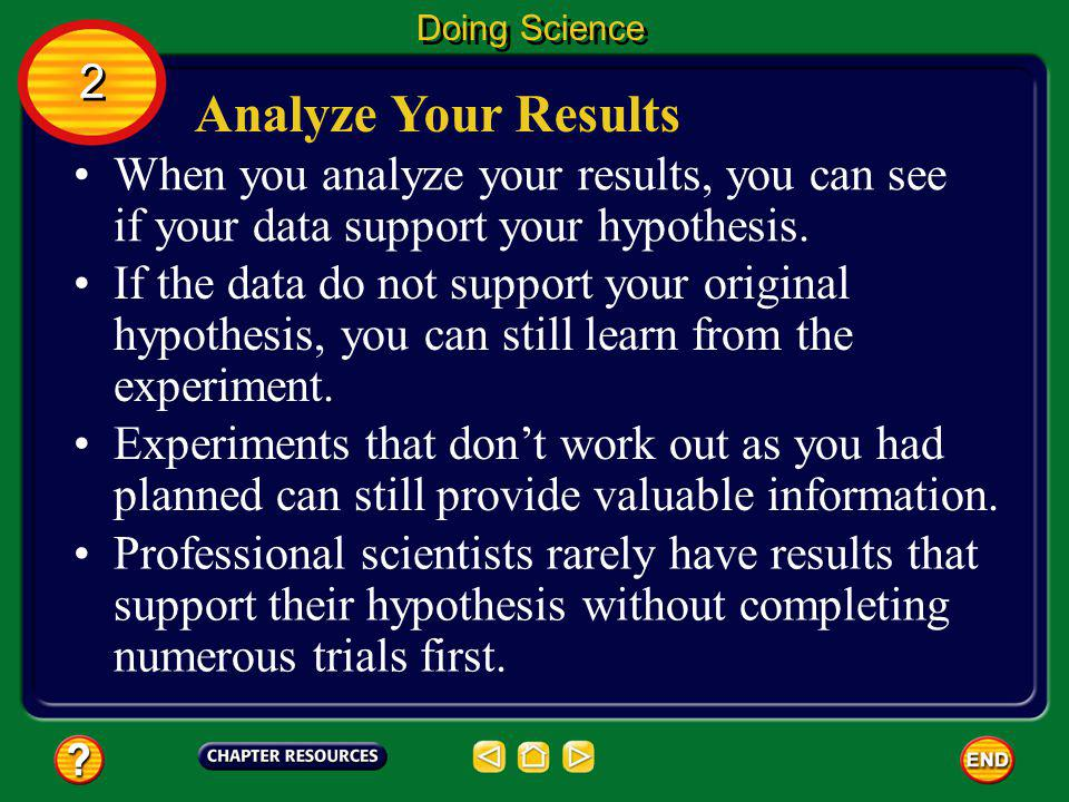 Doing Science 2. Analyze Your Results. When you analyze your results, you can see if your data support your hypothesis.