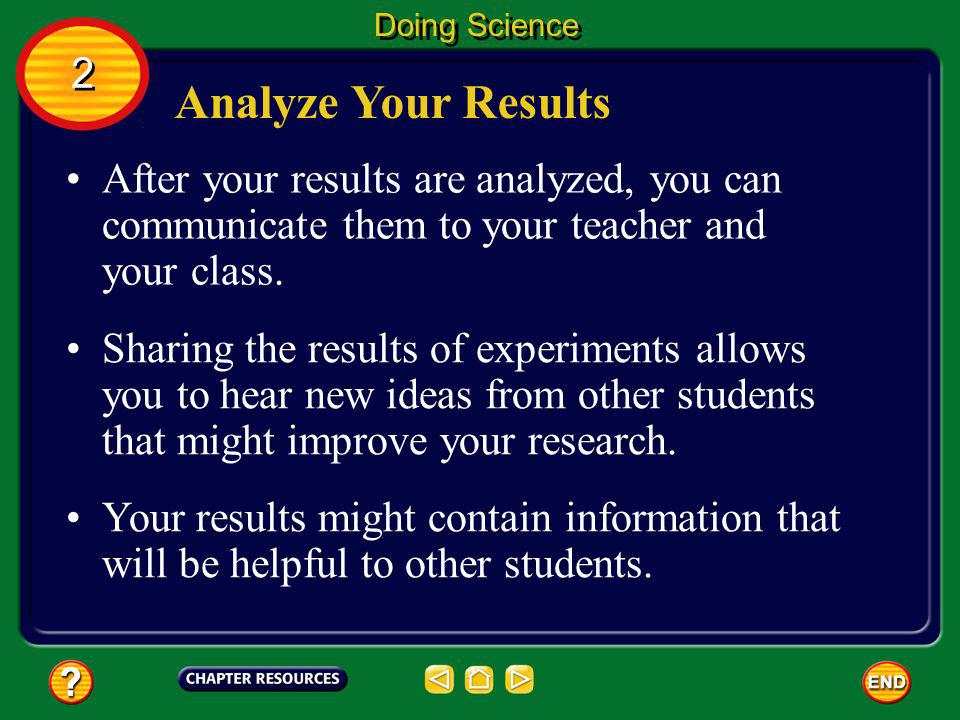 Doing Science 2. Analyze Your Results. After your results are analyzed, you can communicate them to your teacher and your class.