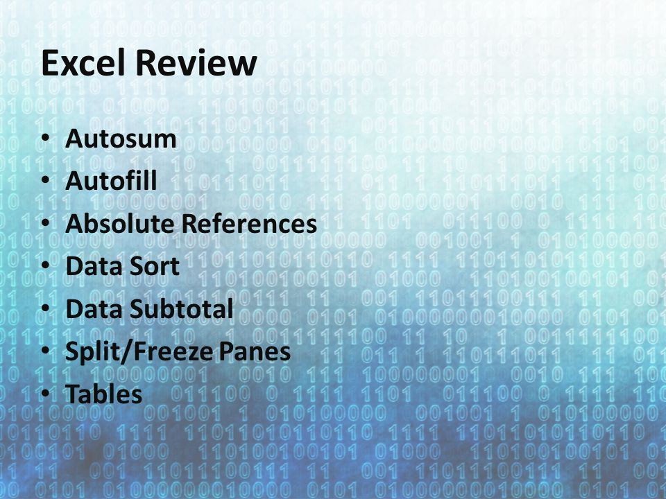 Excel Review Autosum Autofill Absolute References Data Sort