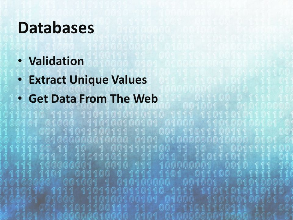 Databases Validation Extract Unique Values Get Data From The Web