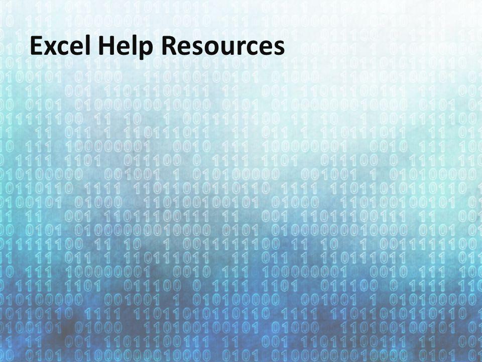 Excel Help Resources