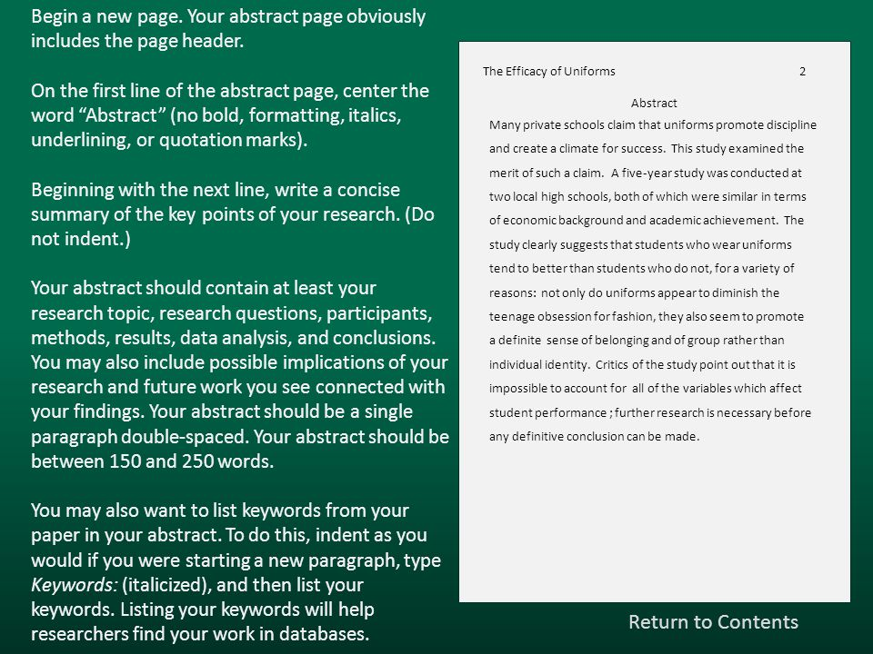Begin a new page. Your abstract page obviously includes the page header.