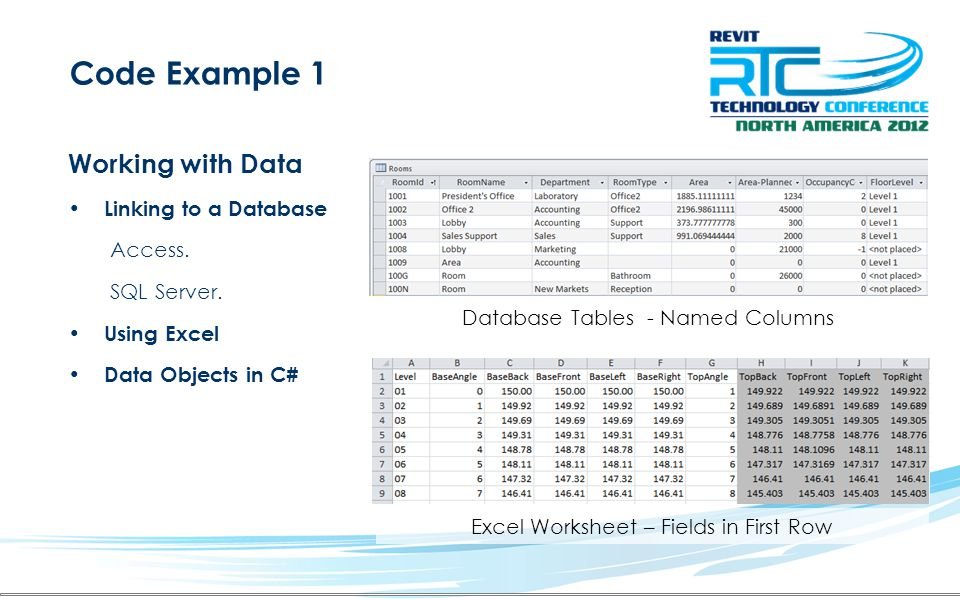 Code Example 1 Working with Data Linking to a Database Access.