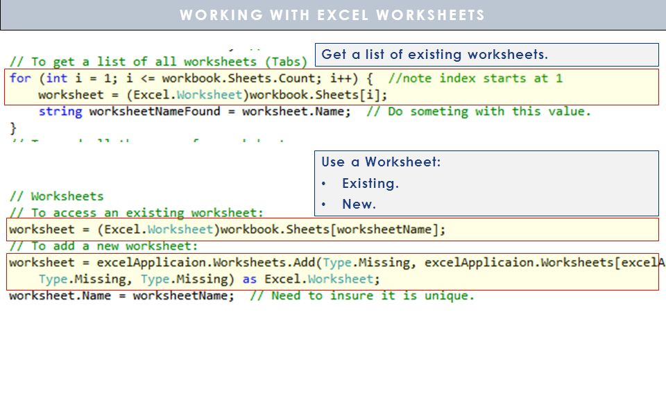 WORKING WITH EXCEL WORKSHEETS