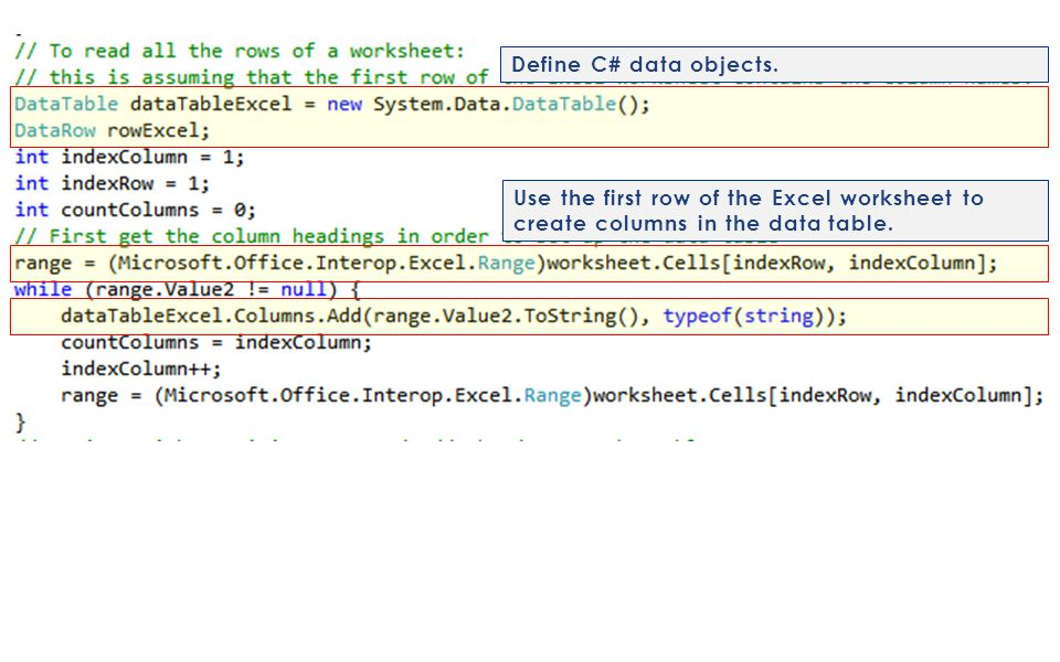 Define C# data objects.