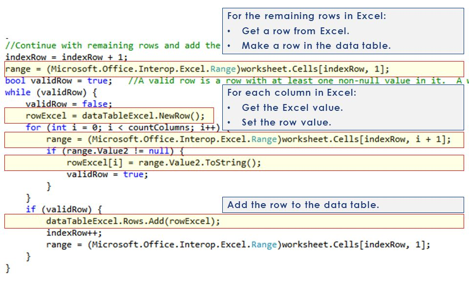 For the remaining rows in Excel: