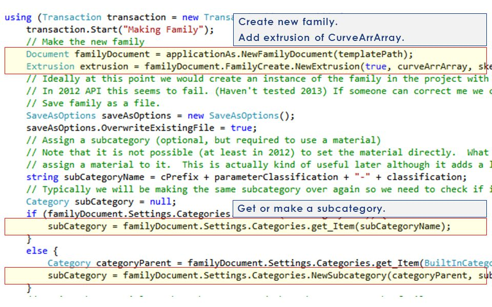 Create new family. Add extrusion of CurveArrArray. Get or make a subcategory.