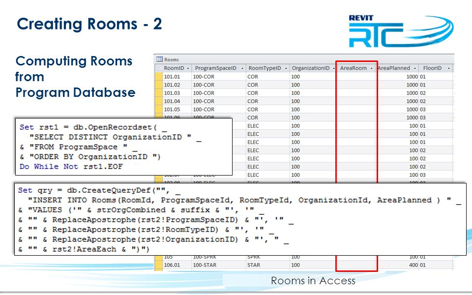 Creating Rooms - 2 Computing Rooms from Program Database