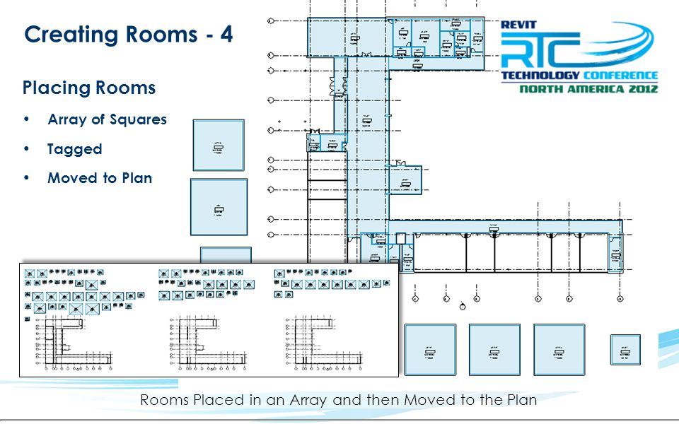 Rooms Placed in an Array and then Moved to the Plan