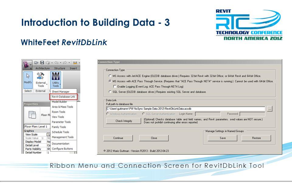Ribbon Menu and Connection Screen for RevitDbLink Tool