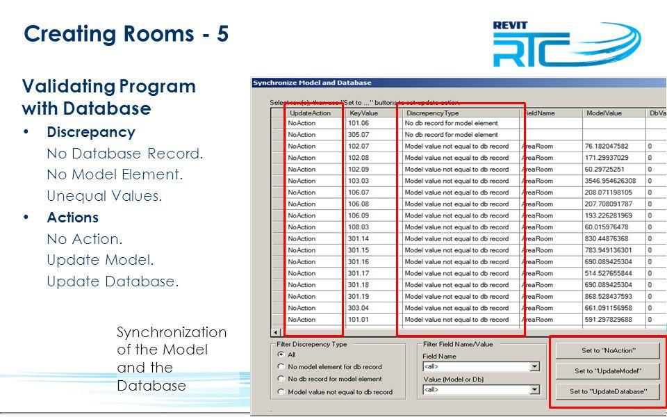 Creating Rooms - 5 Validating Program with Database Discrepancy