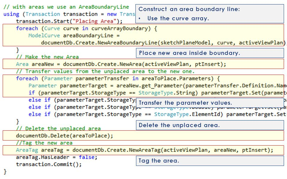 Construct an area boundary line: