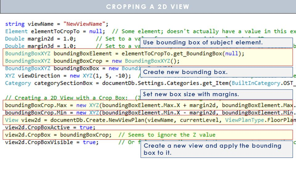 CROPPING A 2D VIEW Use bounding box of subject element.